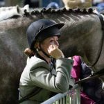 Perth Show…05.08.16 Waiting for showtime…a horse and rider wait their turn in the show ring Picture by Graeme Hart. Copyright Perthshire Picture Agency Tel: 01738 623350  Mobile: 07990 594431
