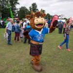 Perth Show…06.08.16 Hamish the Scotch Beef mascot waves for the camera Picture by Graeme Hart. Copyright Perthshire Picture Agency Tel: 01738 623350  Mobile: 07990 594431