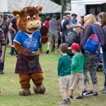 Perth Show…06.08.16 Hamish the Scotch Beef mascot waves to kids Picture by Graeme Hart. Copyright Perthshire Picture Agency Tel: 01738 623350  Mobile: 07990 594431