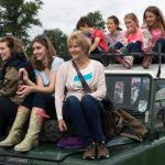 Perth Show…06.08.16 Lady Mansfield, family and friends use a LandRover to get a good view of the showground Picture by Graeme Hart. Copyright Perthshire Picture Agency Tel: 01738 623350  Mobile: 07990 594431