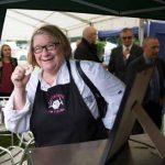 Perthshire On A Plate….05.08.16  The two day food lovers event is organised by Perthshire Chamber of Commerce. Celebrity Chef Rosemary Shrager tries some bacon from The Anglers Inn Picture by Graeme Hart. Copyright Perthshire Picture Agency Tel: 01738 623350  Mobile: 07990 594431