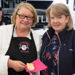 Perthshire On A Plate….05.08.16  The two day food lovers event is organised by Perthshire Chamber of Commerce. Chef Rosemary Shrager with Heather Walker who made the PAOP cake Picture by Graeme Hart. Copyright Perthshire Picture Agency Tel: 01738 623350  Mobile: 07990 594431