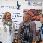 Perthshire On A Plate….05.08.16  The two day food lovers event is organised by Perthshire Chamber of Commerce. Celebrity Chef Rosemary Shrager with Ian Cooke (right) and Phil McKenna of The Anglers Inn Picture by Graeme Hart. Copyright Perthshire Picture Agency Tel: 01738 623350  Mobile: 07990 594431