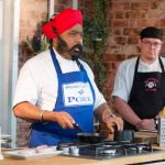 Perthshire On A Plate….06.08.16  Celebrity chef Tony Singh during his cookery demonstation with assistant Scott MacGregor at Perthshire On A Plate food festival held today at Perth Show. Each day features a full demonstration programme of celebrity and top local chefs.    The two day food lovers event is organised by Perthshire Chamber of Commerce. Picture by Graeme Hart. Copyright Perthshire Picture Agency Tel: 01738 623350  Mobile: 07990 594431