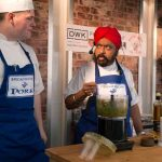 Perthshire On A Plate….06.08.16  Celebrity chef Tony Singh during his cookery demonstation with assistant Fraser Cameron at Perthshire On A Plate food festival held today at Perth Show. Each day features a full demonstration programme of celebrity and top local chefs.    The two day food lovers event is organised by Perthshire Chamber of Commerce. Picture by Graeme Hart. Copyright Perthshire Picture Agency Tel: 01738 623350  Mobile: 07990 594431