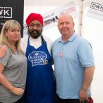 Perthshire On A Plate….06.08.16  Celebrity chef Tony Singh takes a tour of the trade stands in the Perthshire On A Plate marquee, pictured with sponsors Fiona Walker and David Keith of sponsors DWK Picture by Graeme Hart. Copyright Perthshire Picture Agency Tel: 01738 623350  Mobile: 07990 594431