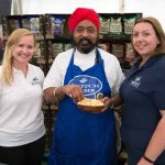 Perthshire On A Plate….05.08.16  Celebrity chef Tony Singh takes a tour of the trade stands in the Perthshire On A Plate marquee. Picture by Graeme Hart. Copyright Perthshire Picture Agency Tel: 01738 623350  Mobile: 07990 594431