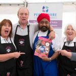 Perthshire On A Plate….06.08.16  Celebrity chef Tony Singh takes a tour of the trade stands in the Perthshire On A Plate marquee. Picture by Graeme Hart. Copyright Perthshire Picture Agency Tel: 01738 623350  Mobile: 07990 594431