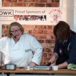 Perthshire On A Plate….05.08.16  Celebrity chef Rosemary Shrager during her cookery demonstation with volunteer Helen Weir, at Perthshire On A Plate food festival held today and tomorrow at Perth Show. Tomorrow's celebrity chef is Scottish Spice King Tony Singh. Each day features a full demonstration programme of celebrity and top local chefs.    The two day food lovers event is organised by Perthshire Chamber of Commerce. Picture by Graeme Hart. Copyright Perthshire Picture Agency Tel: 01738 623350  Mobile: 07990 594431