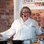 Perthshire On A Plate….05.08.16  Celebrity chef Rosemary Shrager entertaining the audience with a song during her cookery demonstation at Perthshire On A Plate food festival held today and tomorrow at Perth Show. Tomorrow's celebrity chef is Scottish Spice King Tony Singh. Each day features a full demonstration programme of celebrity and top local chefs.    The two day food lovers event is organised by Perthshire Chamber of Commerce. Picture by Graeme Hart. Copyright Perthshire Picture Agency Tel: 01738 623350  Mobile: 07990 594431