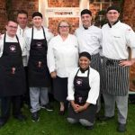 Perthshire On A Plate….05.08.16  Celebrity chef Rosemary Shrager with her assistant chefs for the day from Perth UHI  Picture by Graeme Hart. Copyright Perthshire Picture Agency Tel: 01738 623350  Mobile: 07990 594431